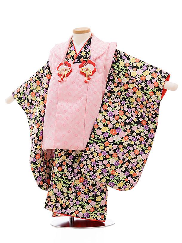七五三レンタル(3歳女被布)A121 ピンク×黒地 小花
