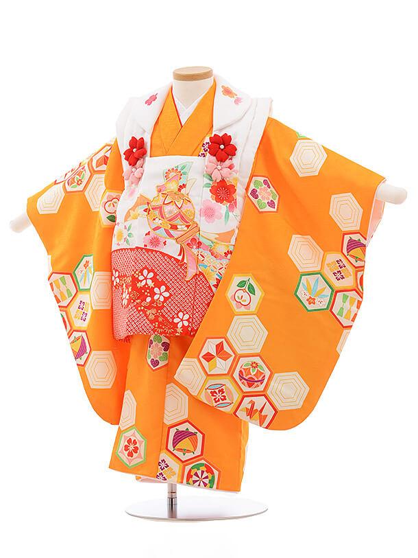 七五三レンタル(3歳女被布)A123 白×オレンジ 古典