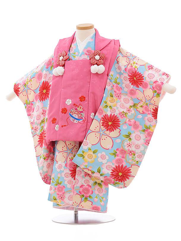 七五三レンタル(3歳女被布)A125 ピンク×水色 花
