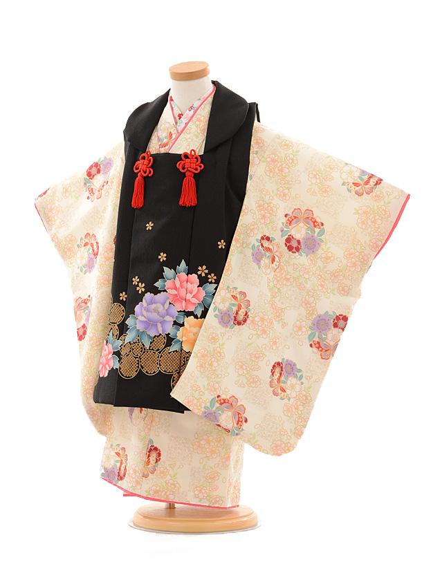 七五三レンタル(3歳女被布)D039 黒花×クリーム花と蝶