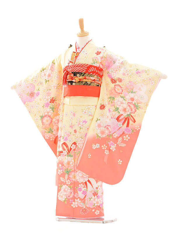 七五三レンタル(7女結び帯)D052 クリーム色花リボン
