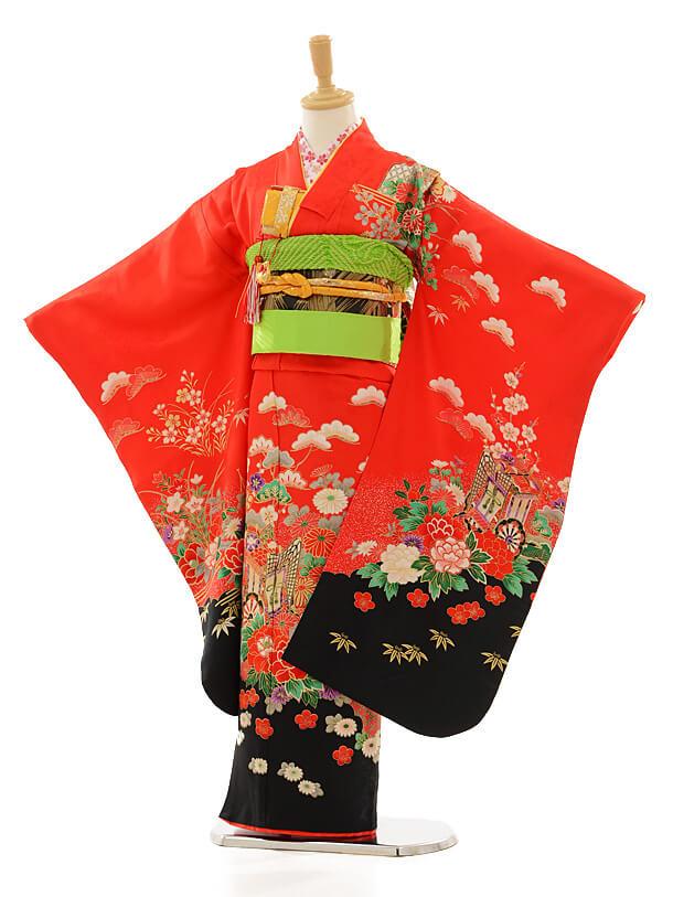 七五三レンタル(7女結び帯)D067 赤地裾黒花