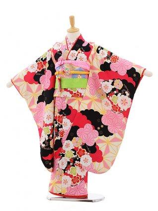七五三レンタル(7歳女結び帯)F005 ぷちぷり黒×ピンク