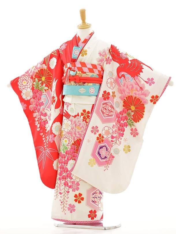 七五三レンタル(7歳女結び帯)F008 JAPANSTYLE 白×赤