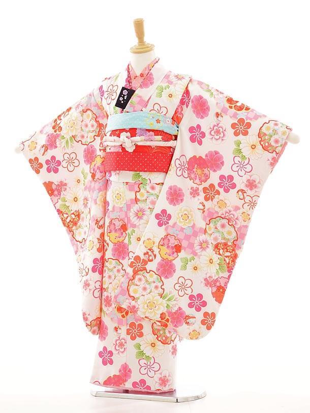 七五三レンタル(7歳女結び帯)F010 式部浪漫 白×ピンク