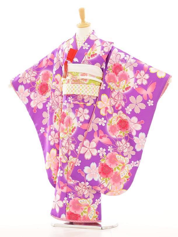 七五三レンタル(7歳女結び帯)F014乙葉紫
