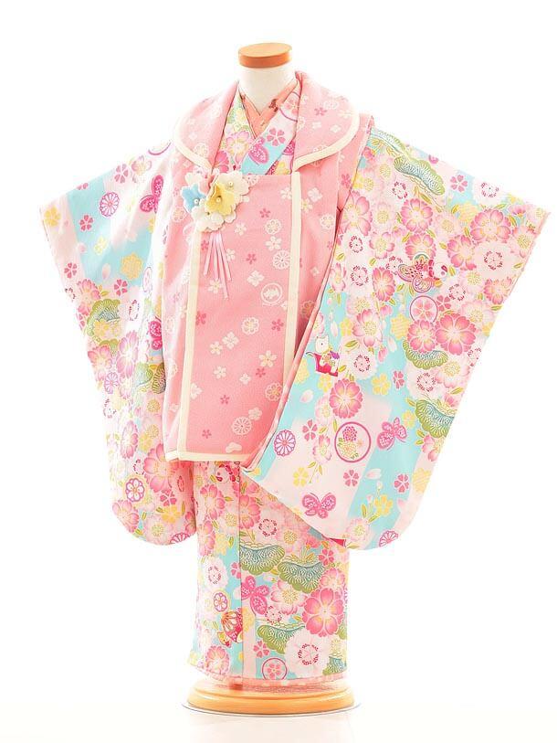 七五三レンタル(3歳女被布)F039ポンポネットピンク×水色