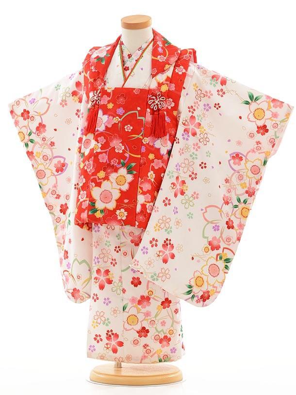 七五三レンタル(3歳女被布)F049赤×白桜