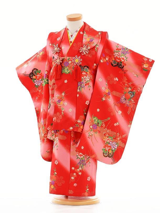 七五三レンタル(3歳女被布)F053赤ピンクぼかし