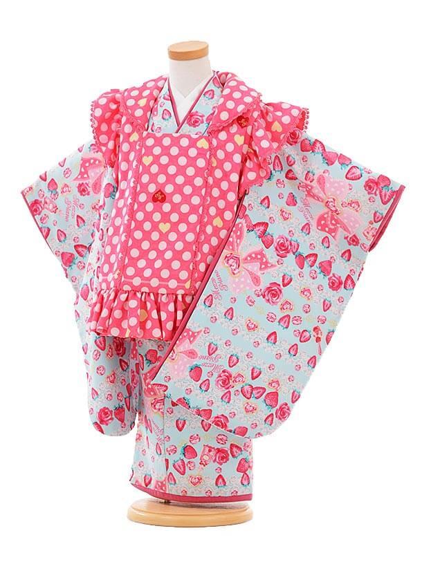 七五三(3歳女被布)F059 メゾピアノ ピンクドット×水色 苺