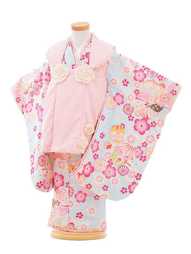 七五三(3歳女被布)F062 ポンポネット ピンク×水色 花