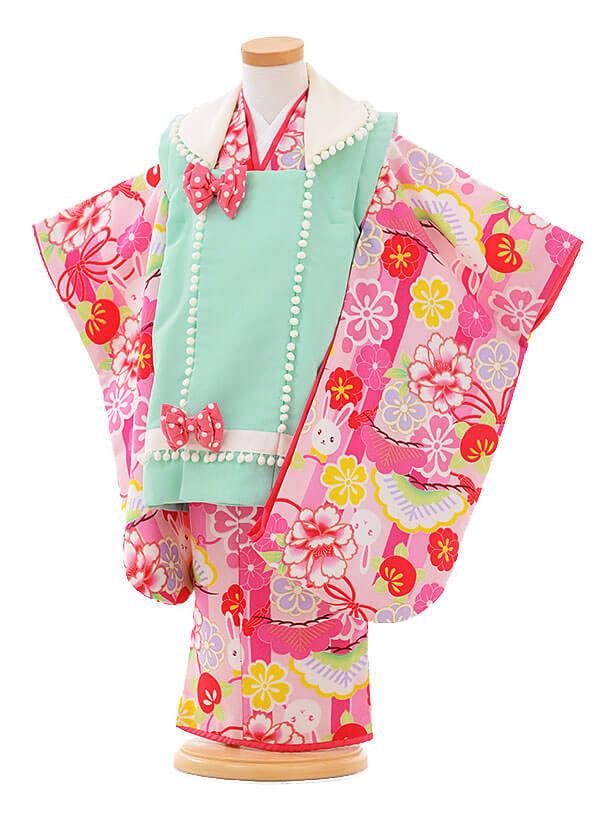 七五三(3歳女被布)F066 JAPANSTYLE 水色×ピンク