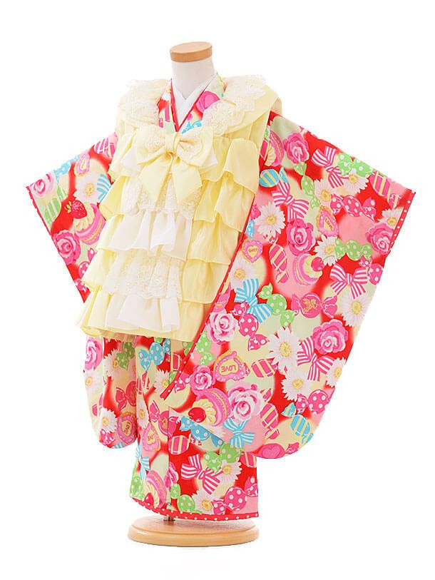 七五三(3歳女被布)F067 seiko イエローフリル×ピンクキャンディー