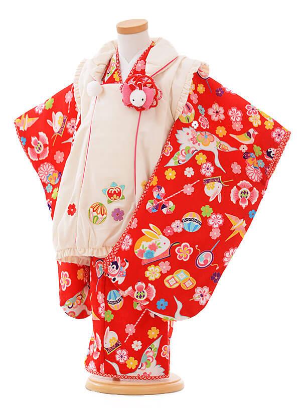 七五三(3歳女被布)F069 乙葉 白×赤うさぎ
