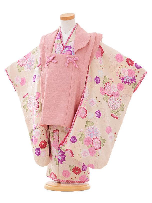 七五三(3歳女被布)F070JAPANSTYLE レトロピンク×クリーム色 花