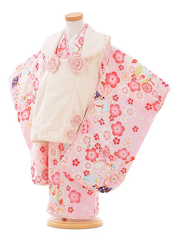 七五三(3歳女被布)F072 ポンポネット 白×ピンク 花