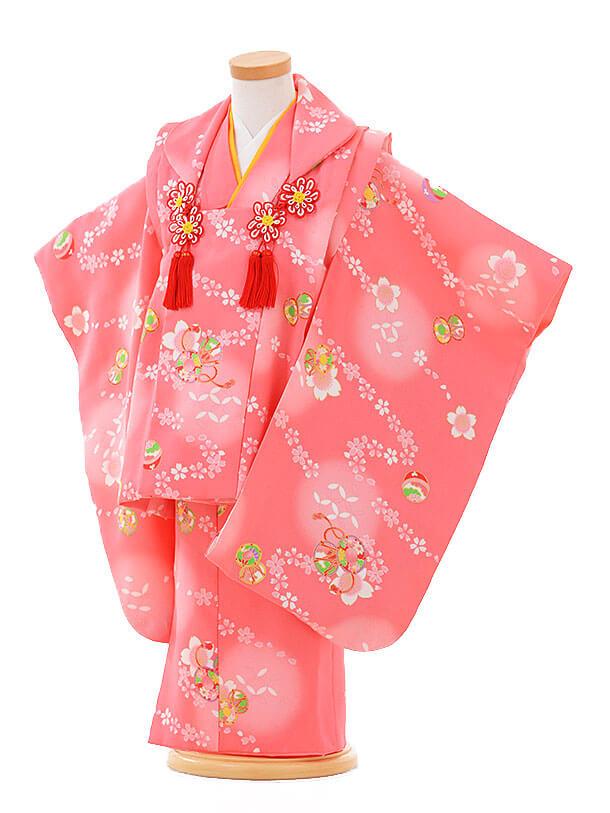 七五三レンタル(3歳女被布)F080 ピンク×ピンク 桜鼓