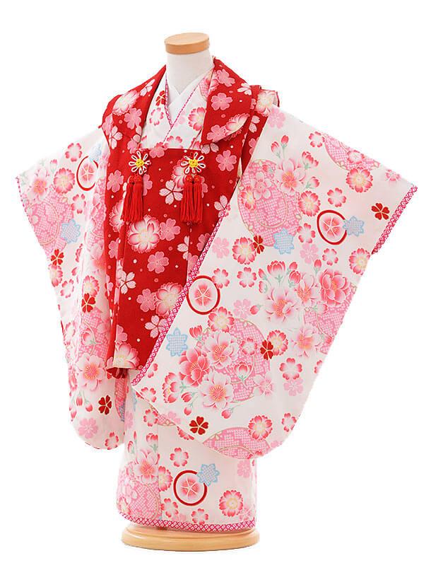 七五三レンタル(3歳女被布)F085 赤小花×白地 花