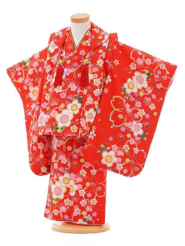 七五三レンタル(2.3歳女被布)F086 赤×赤桜