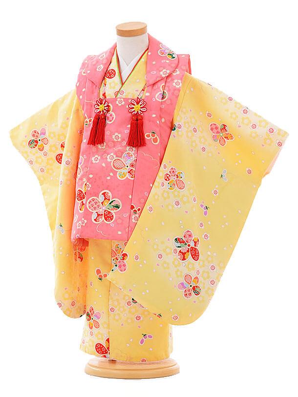七五三レンタル(3歳女被布)F087 ピンク×黄色 梅花