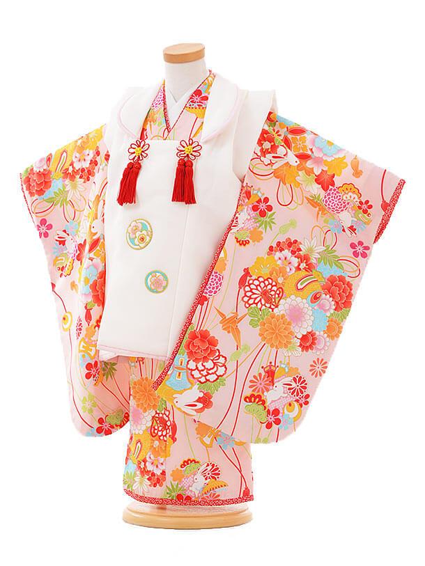 七五三レンタル(3歳女被布)F088 白×ピンク 薬玉