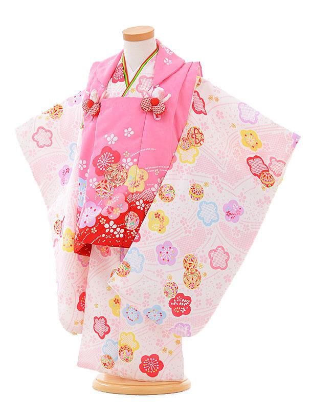 七五三レンタル(3歳女被布)F089 ピンク×白 まり桜