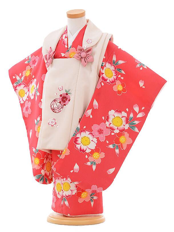 七五三レンタル(3歳女被布)F096 ベージュ×ピンク 桜