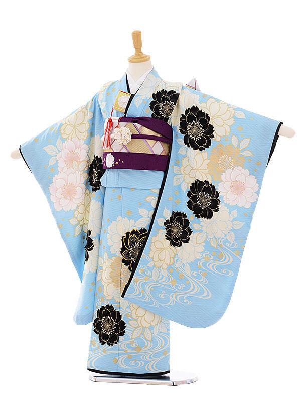 七五三(7歳女結び帯)F098 BLUECROSS 水色×白桜
