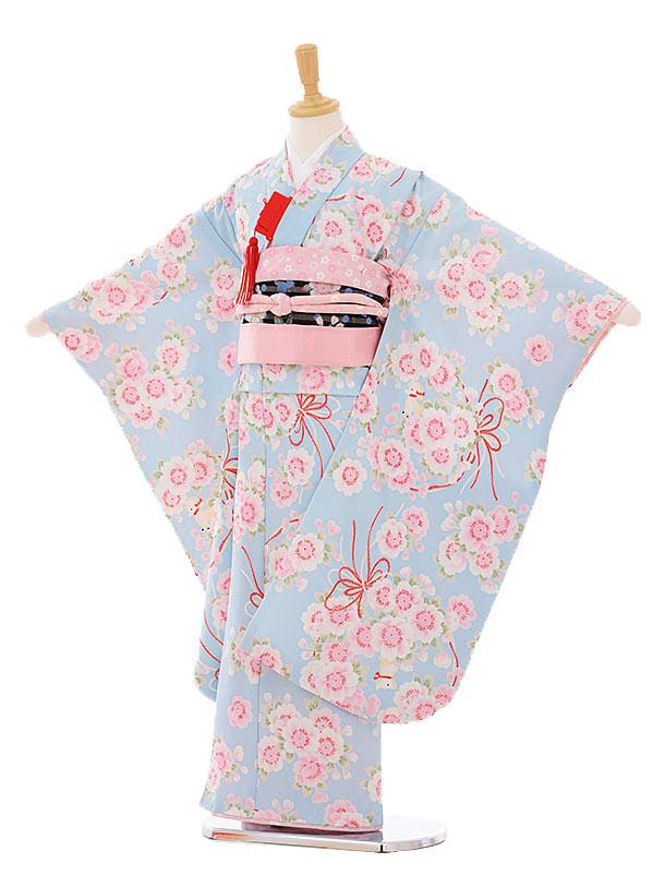 七五三(7歳女結び帯)F100 ぷちぷり 水色 桜輪