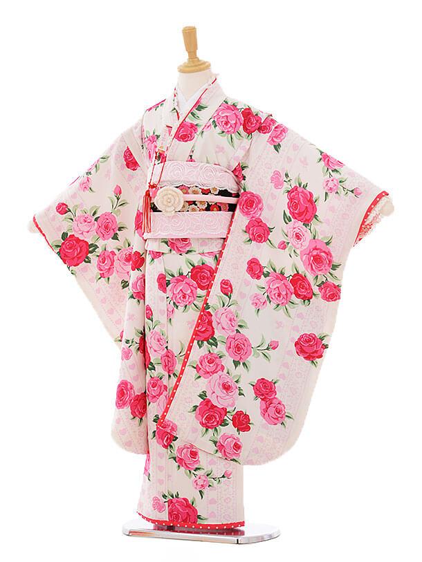 七五三(7歳女結び帯)F102 seiko 白地ピンクバラ