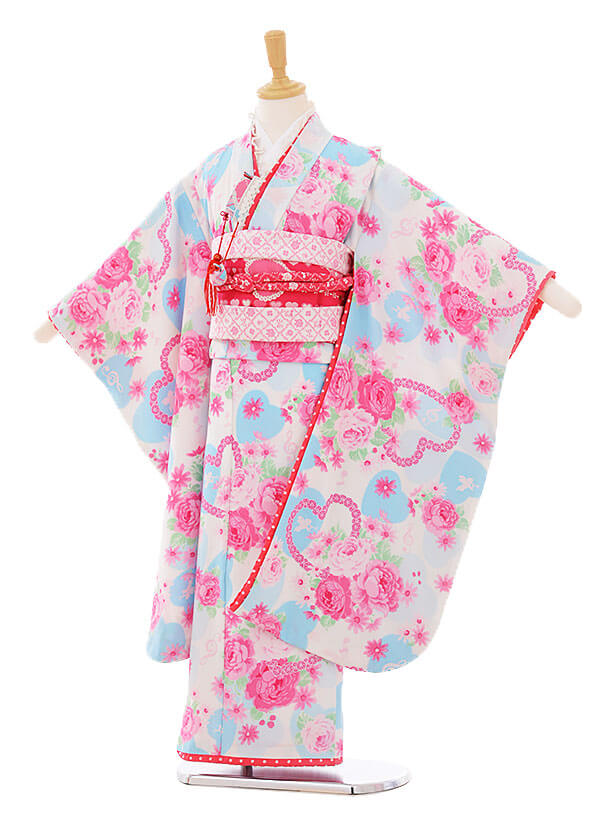 七五三(7歳女結び帯)F103 seiko 白地水色ハート