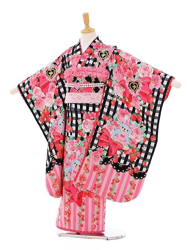 七五三(7歳女結び帯)F105 seiko 黒チェックリボン