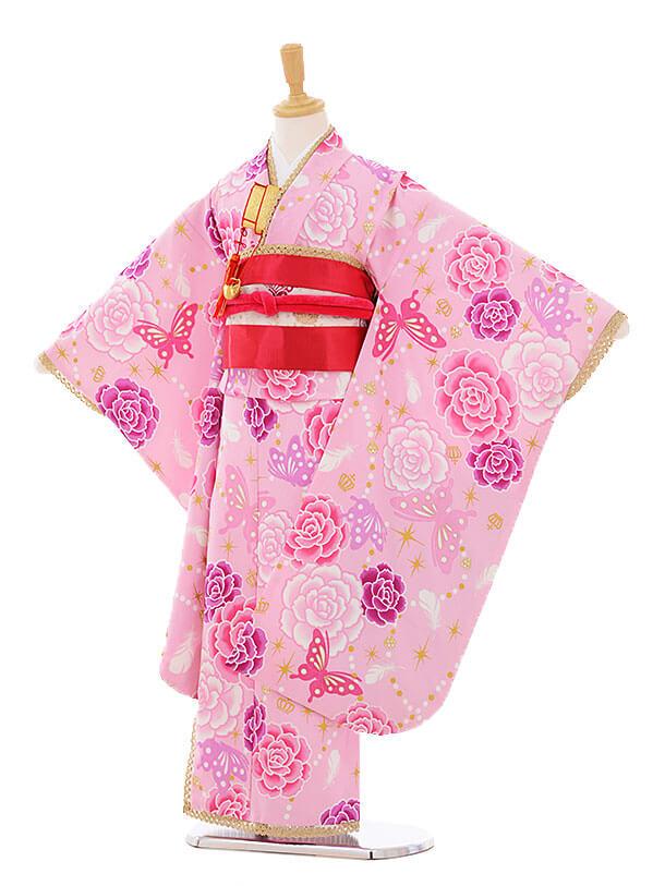 七五三(7歳女結び帯)F109 JAPANSTYLE ピンクバラ蝶
