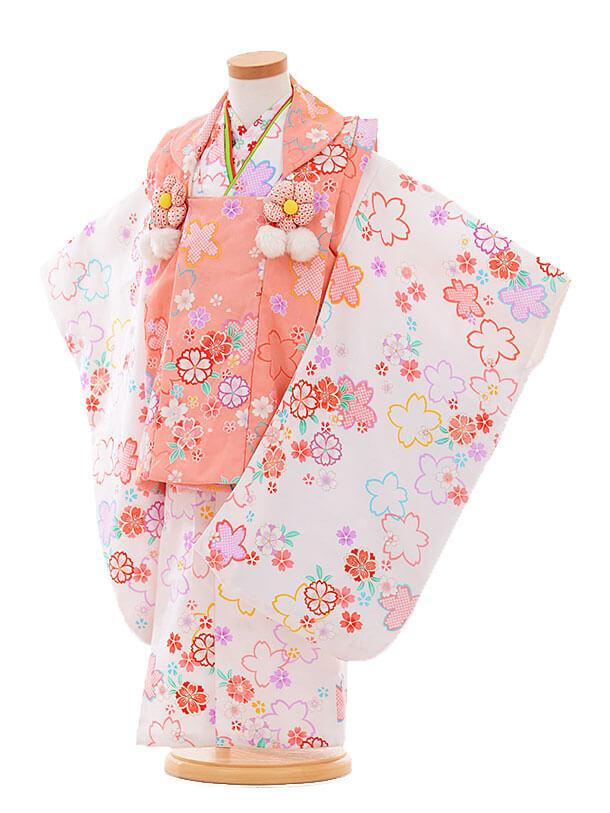 七五三(3歳女被布)F169 ピンク×白 小花