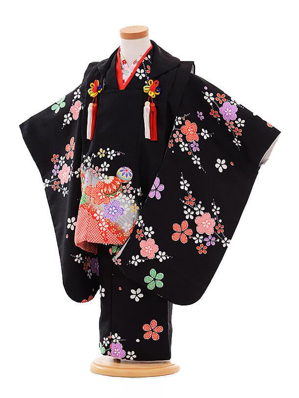 七五三レンタル(3歳女被布)F170 黒×黒 まり花