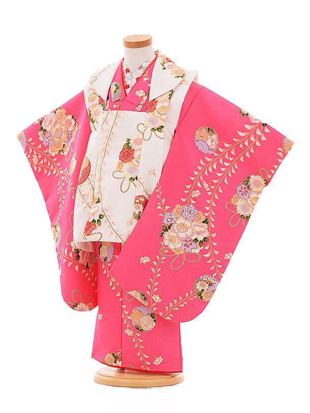 七五三(3歳女被布)F173 白×ピンク 薬玉