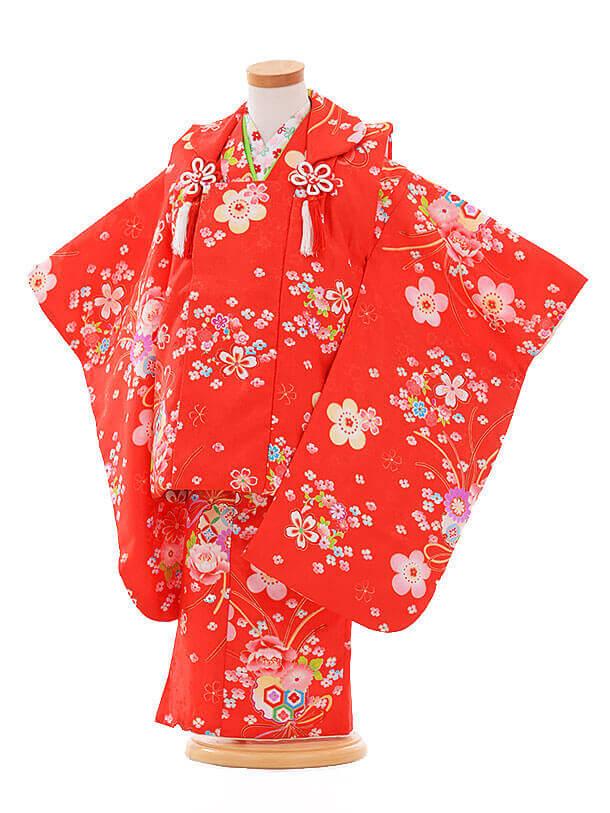 七五三(3歳女被布)F174 赤×赤 小花