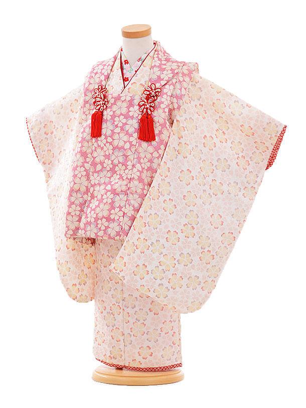七五三(3歳女被布)F175 ピンク×白 小花