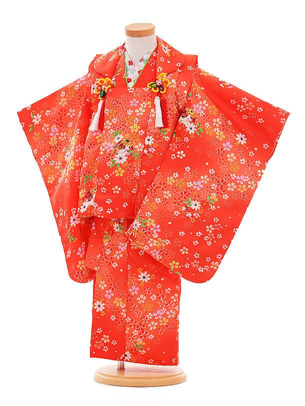 七五三(3歳女被布)F177 赤×赤 小花まり