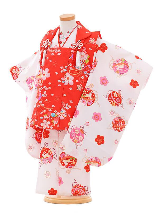 七五三(3歳女被布)F178 赤×白 まりうさぎ