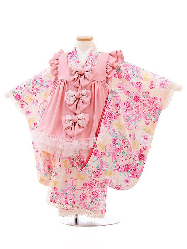 七五三レンタル(3歳女被布)F181 メゾピアノ ピンク チュール バラ