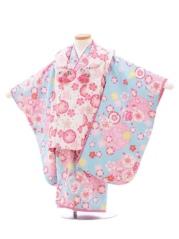 七五三レンタル(3歳女被布)F182 JAPANSTYLE 白×水色 桜