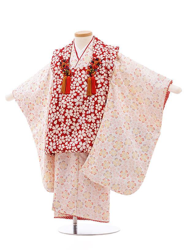 七五三レンタル(3歳女被布)F184 赤×白 桜