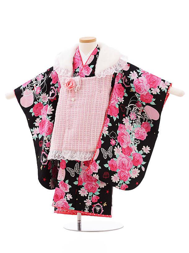 七五三レンタル(3歳女被布)F185 SEIKO ピンク×黒バラ