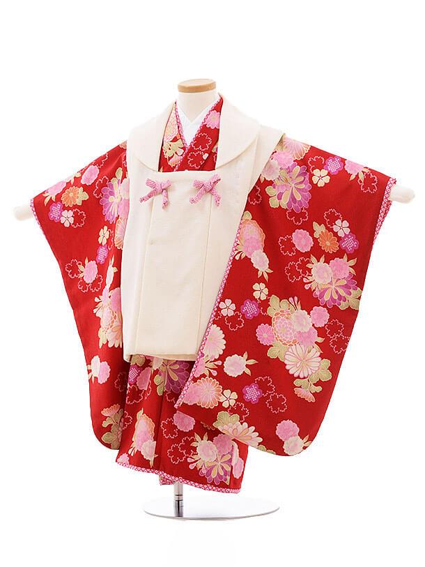 七五三レンタル(3歳女被布)F186 JAPANSTYLE 白×赤 花