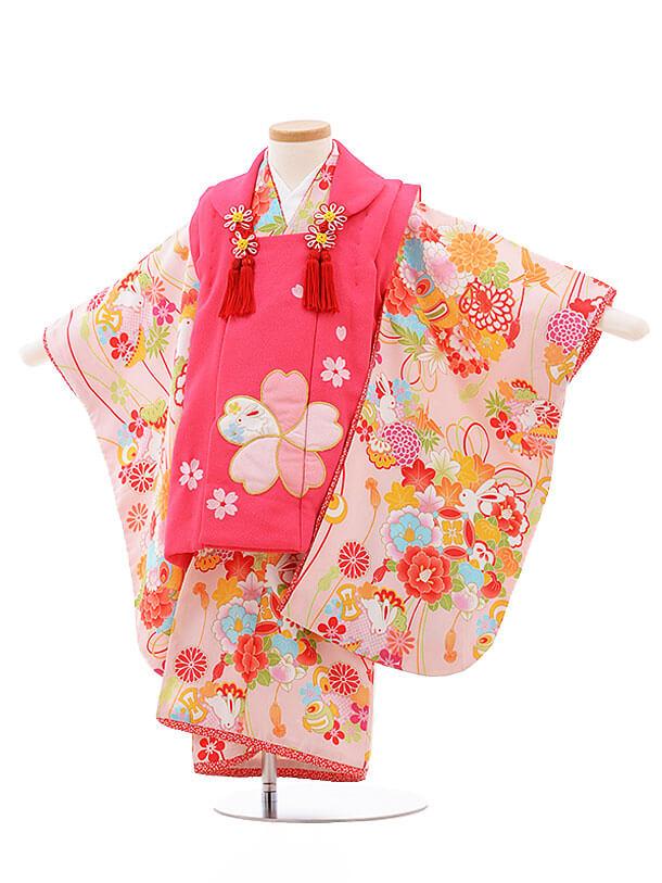 七五三レンタル(3歳女被布)F187 乙葉 ピンク×ピンク うさぎ