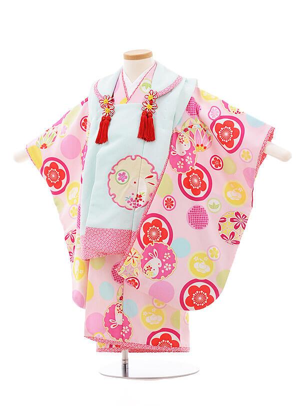 七五三レンタル(3歳女被布)F188 乙葉 水色×ピンク 雪輪 うさぎ