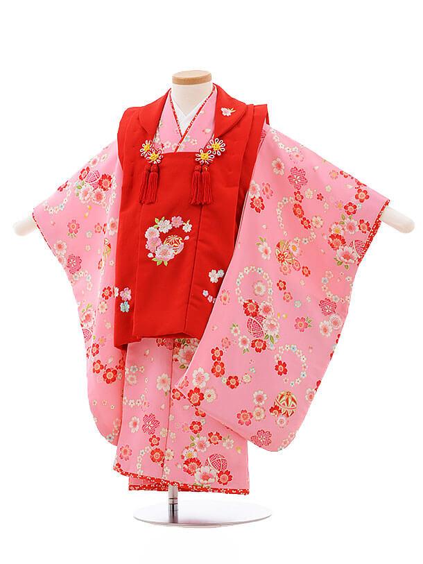 七五三レンタル(3歳女被布)F190 花夢二 赤×ピンク 小花 まり