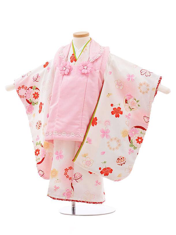 七五三レンタル(3歳女被布)F191 式部浪漫 ピンク×白 桜 まり