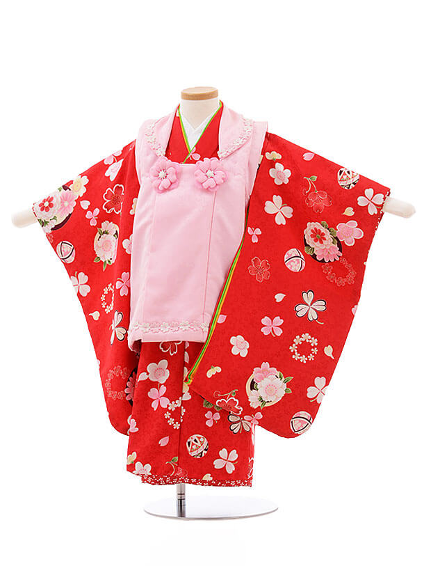 七五三レンタル(3歳女被布)F192 式部浪漫 ピンク×赤 桜 まり